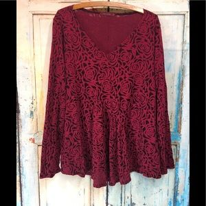 Cut Loose Stretch Burgundy Floral Lagenlook Tunic